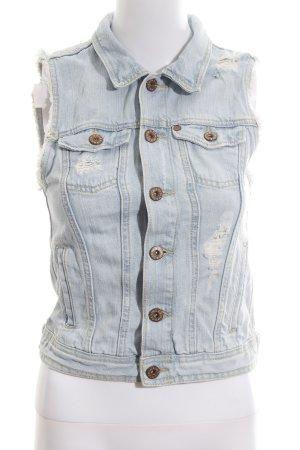 H&M Smanicato jeans azzurro-bianco sporco stile casual