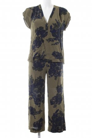 H&M Jersey Twin Set khaki-blau Blumenmuster Casual-Look