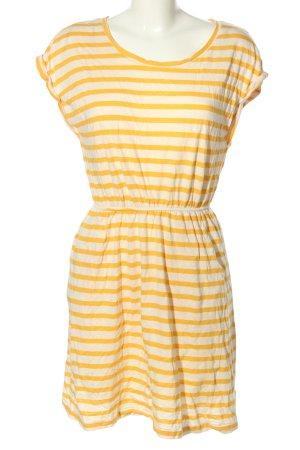 H&M Jerseykleid hellorange-wollweiß Streifenmuster Casual-Look
