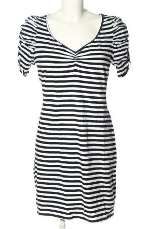 H&M Jerseykleid schwarz-weiß Streifenmuster Casual-Look