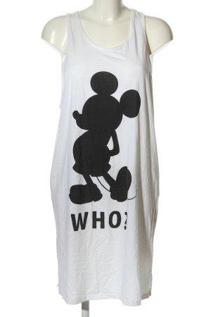 H&M Jerseykleid weiß-schwarz Motivdruck Casual-Look