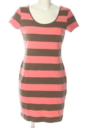 H&M Jerseykleid pink-braun Allover-Druck Casual-Look