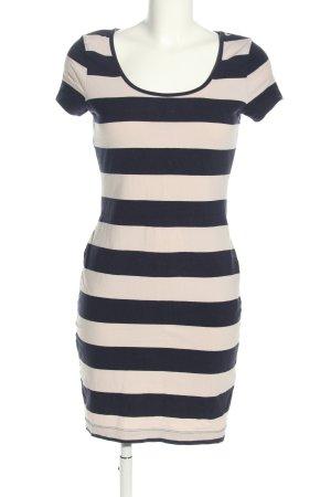 H&M Jerseykleid wollweiß-schwarz Streifenmuster Casual-Look