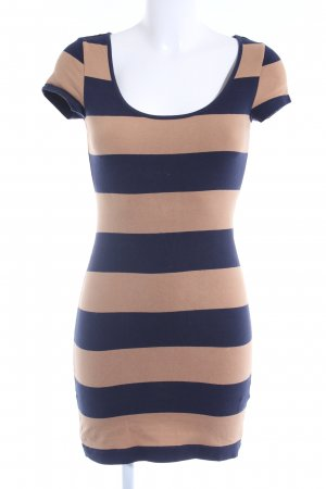 H&M Jerseykleid beige-dunkelblau Streifenmuster Casual-Look