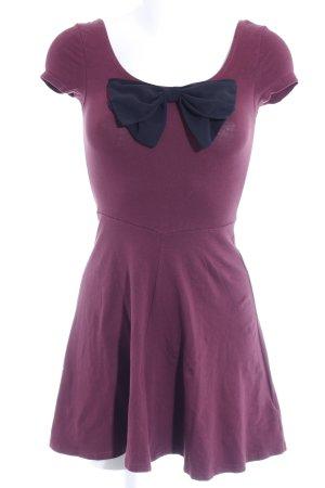 H&M Jerseykleid braunviolett-schwarz Casual-Look