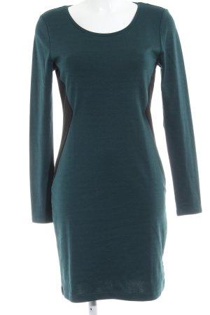 H&M Jerseykleid waldgrün-schwarz Elegant