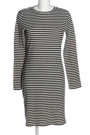 H&M Jerseykleid weiß-schwarz Streifenmuster Casual-Look