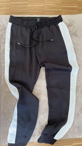 H&M Pantalon boyfriend noir-blanc