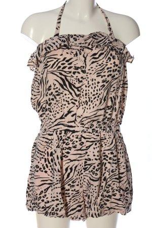 H&M Jumpsuit nude-schwarz Allover-Druck Elegant