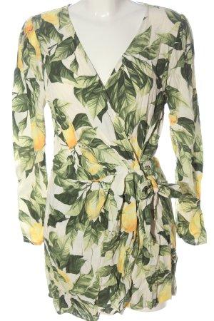 H&M Jumpsuit wollweiß-grün Blumenmuster Casual-Look