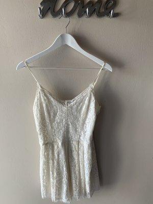H&M jumpsuit Einteiler weiß Creme spitze Blumenmuster