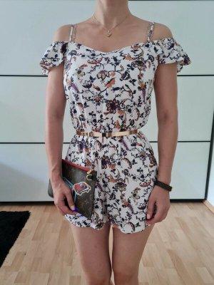 H&M Jumpsuit Overall XXS XS 32 34 bunt Blumen Playsuit Catsuit Bodycon Mini Hose Shorts Kleid Neu