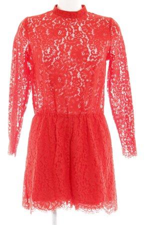 H&M Jumpsuit rot Spitzenbesatz