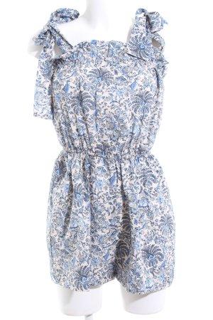 H&M Jumpsuit wollweiß-blau Allover-Druck Casual-Look