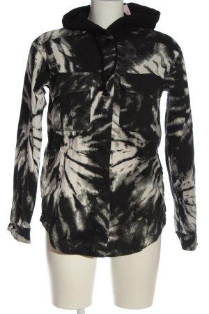 H&M Kapuzenjacke schwarz-weiß Allover-Druck Casual-Look