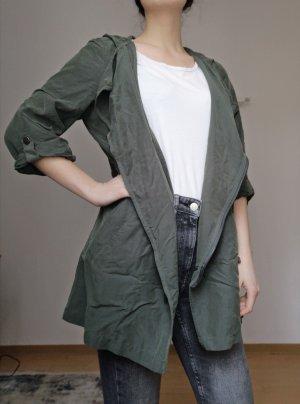 H&M Kurtka z kapturem khaki-leśna zieleń