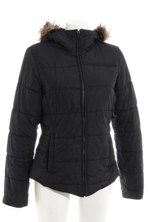 H&M Kurtka z kapturem czarny-szaro-brązowy Pikowany wzór W stylu casual