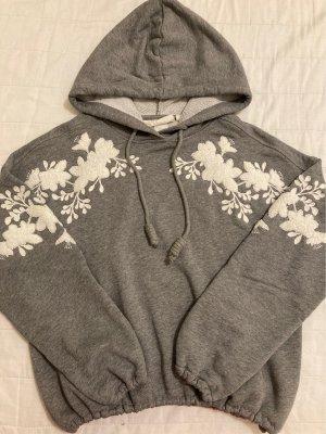 H&M Pull à capuche gris-blanc