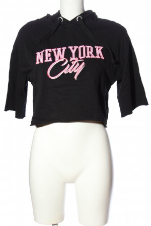 H&M Shirt met capuchon zwart-roze gedrukte letters casual uitstraling
