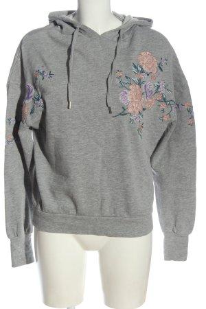 H&M Kapuzensweatshirt hellgrau Blumenmuster Casual-Look