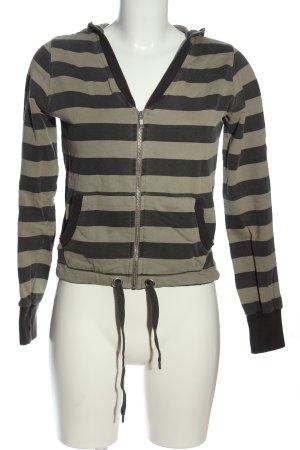 H&M Kapuzensweatshirt schwarz-khaki Streifenmuster Casual-Look