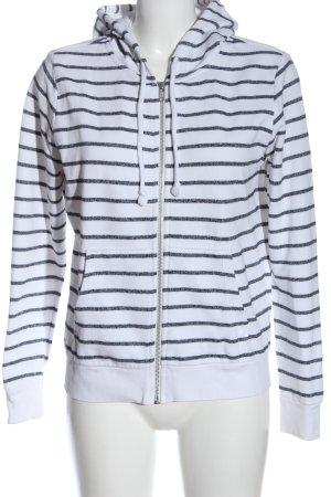 H&M Kapuzensweatshirt weiß-hellgrau Streifenmuster Casual-Look