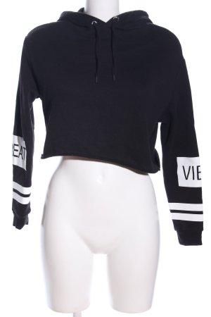 H&M Kapuzensweatshirt schwarz-weiß Schriftzug gedruckt Casual-Look