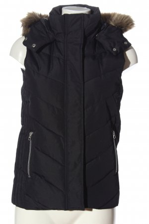 H&M Hooded Vest black quilting pattern casual look