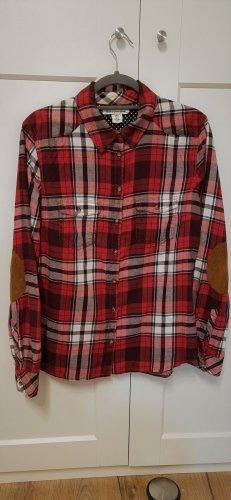 H&M Karierte Flanellbluse Karohemd Hemd rot schwarz weiß Gr. 42