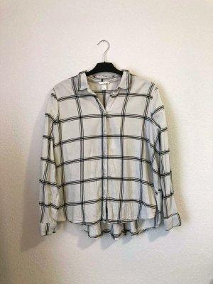 H&M kariertes Hemd / Bluse / Oberteil oversized in Weiß/Creme Größe 44