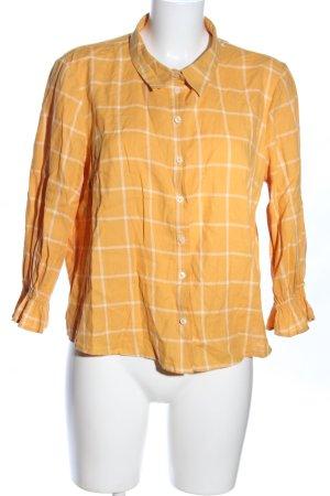H&M Blusa a cuadros naranja claro-blanco estampado a cuadros estilo «business»
