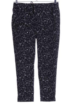 H&M Pantalón de pinza alto negro-blanco estampado con diseño abstracto