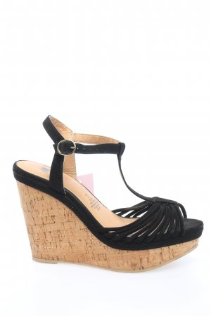 H&M Keil-Pumps braun-schwarz Casual-Look
