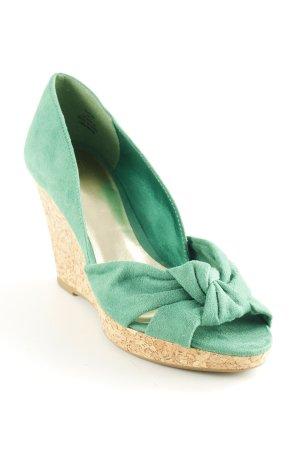 H&M Keil-Pumps grün-beige Romantik-Look