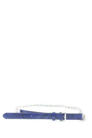H&M Cinturón de cadena azul-color plata estampado de animales elegante