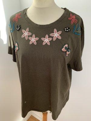 H&M Khaki T-Shirt mit Blumenstickerei