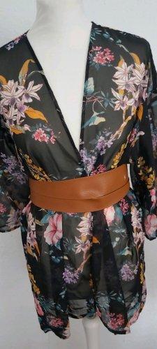 H&M Blusa kimono nero-rosa pallido