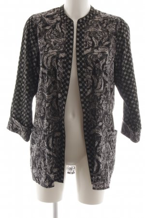 H&M Kimono zwart-lichtgrijs abstract patroon casual uitstraling