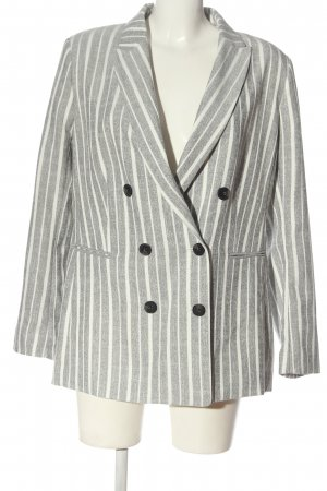 H&M Klassischer Blazer hellgrau-weiß Streifenmuster Casual-Look