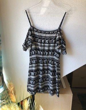 H&M Vestito da spiaggia bianco-nero