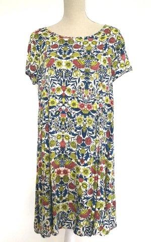 H&M Kleid 40 L bunt Sommer Kurzarm gelb blau weiß