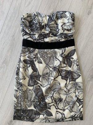 H&M Ołówkowa sukienka czarny-w kolorze białej wełny