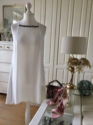 H&M Kleid A-Linie Georgette gefüttert Strass Weiß Gr. XL