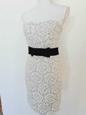 H&M Kleid aus Spitze in hell grau schwarz schulterfrei 36 S