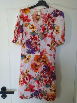 H&M Kleid Blumen floral tropisch exotisch Sommerkleid Minikleid