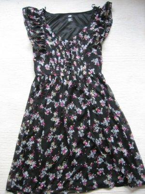 H&M kleid blumen neu gr. s 36 schwarz vintage