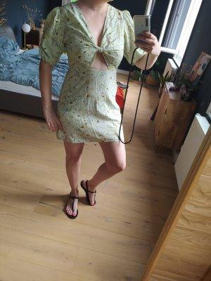 H&M Kleid Cutouts Bindedetail Knoten Minikleid Puffärmel geblümt Leinen