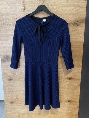 H&M Abito jersey blu scuro-nero