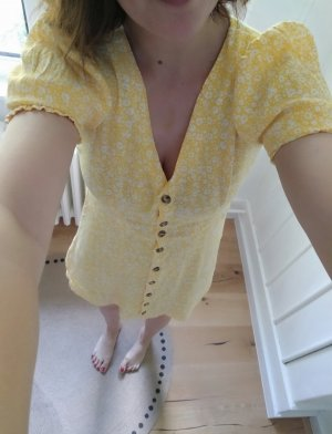 H&M Kleid Gelb Geblümt Millefleurs Minikleid