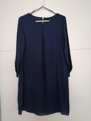 H&M Basic Szyfonowa sukienka ciemnoniebieski-niebieski